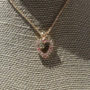 Women`s gold tone heart necklace pink clear accent